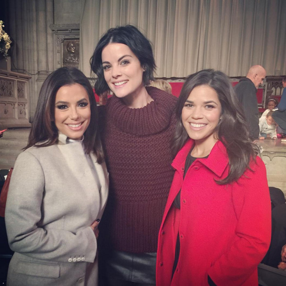 America Ferrera celebrated the Macy's Thanksgiving Day parade with Eva Longoria and Jaimie Alexander. 