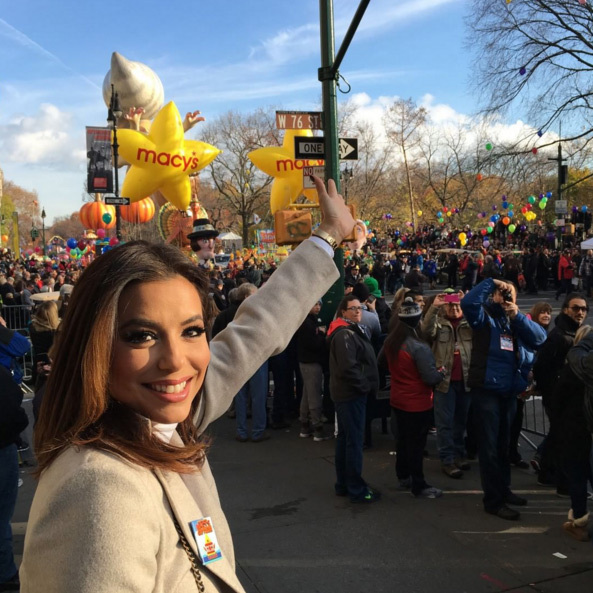 "Eva Longoria posted this pic of her enviable vantage point, writing: ""It's starting! #MacysParade #HappyThanksgiving.""