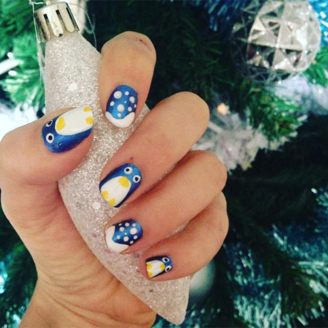 Embrace the winter with this adorable blue and white penguin designs.