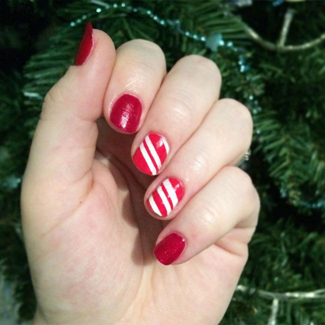 For a quirky tribute to candy canes, try Victoria Swindlehurst's simple look by using a red base and adding white stripes.