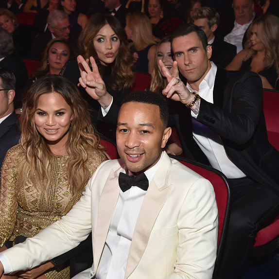December 2: Photo bomb! Adam Levine, Behati Prinsloo and Katharine McPhee pulled off an epic photo bomb while John Legend and Chrissy Teigen posed for a picture during the taping of the Sinatra 100: All-Star Grammy concert at the Wynn hotel in Las Vegas.