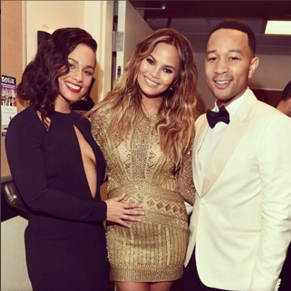 "December 2: Baby love! John Legend and Chrissy Teigen got some ""mommy advice"" from Alicia Keys backstage during the taping of the Sinatra 100: All-Star Grammy concert in Las Vegas
