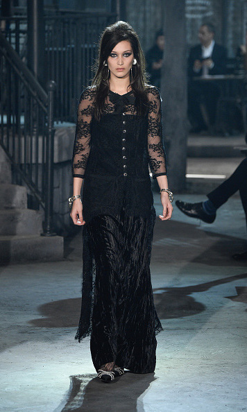 December 1: On the catwalk! Bella Hadid strutted her stuff on the runway during the Chanel Metiers d'Art 2015/16 Fashion Show in Rome. 