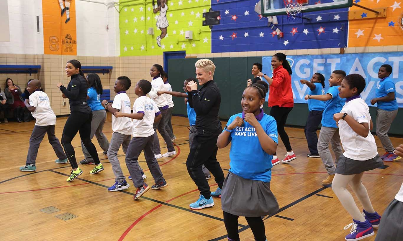 November 30: Moving with the kids! Pink celebrated the nationwide launch of UNICEF's 'Kid Power' with New York City school children. 
