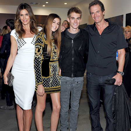 December 4: Seriously good genes! Rande Gerber with kids Kaia and Presley supported mom Cindy Crawford her 'Becoming' book party hosted by Bill Guthy And Greg Renker at Eric Buterbaugh Florals in L.A.