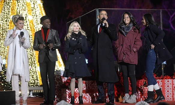 December 3: Reese Witherspoon joined President Obama and his daughters Sasha and Malia as well as singers Andra Day and Aloe Blacc at the annual tree lighting in Washington D.C.