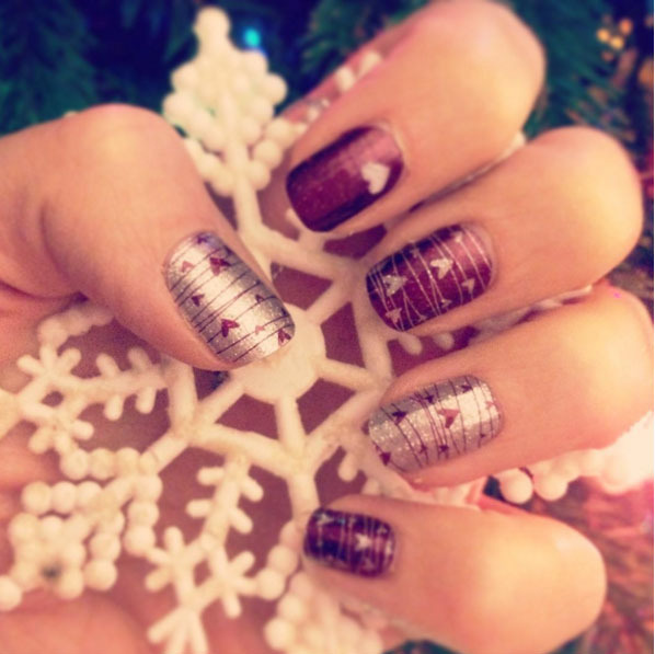 Loving the #jamberry inspired nails that add a pop of color to any festive occasion and go exceptionally well with a a snowflake. 