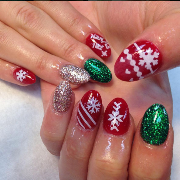 These naughty or nice nails by nail tech Kaleigh McGinnis are the perfect balance of shimmer and design to get you into the holiday spirit. 