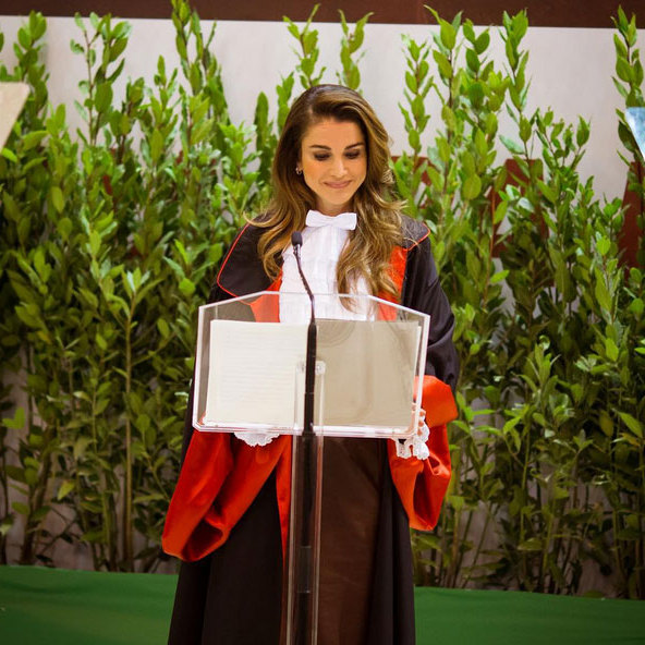 "Queen Rania of Jordan was ""humbled"" as she received an Honorary Doctorate in Science Development and International Cooperation from Sapienza University in Rome. 