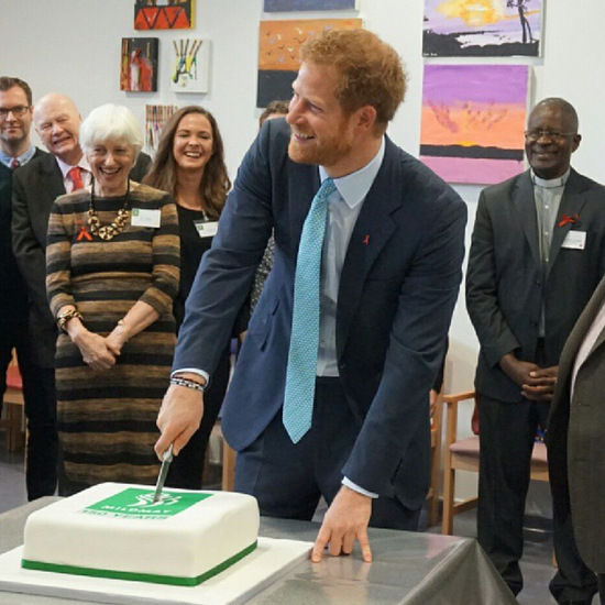 "A bit different from planting a tree! Prince Harry had the honor of cutting Mildmay Mission Hospital's birthday cake. The dapper royal was following in his late mother's footsteps, visiting the charitable HIV hospital in East London. The cheeky royal admitted, ""I don't cut cakes much. We normally plant trees. This is something new.""