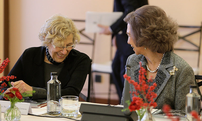 Queen Sofia of Spain had Madrid's mayor Manuela Carmena in stitches during the 'Reina Sofia' School of Music Board Meeting in Madrid.