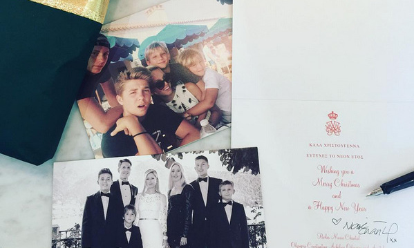 Princess Marie-Chantal and Prince Pavlos of Greece posted a snap of their elegant holiday card, featuring their kids Princess Olympia, Prince Alexios, Prince Achileas, Prince Odysseas and Prince Aristide.