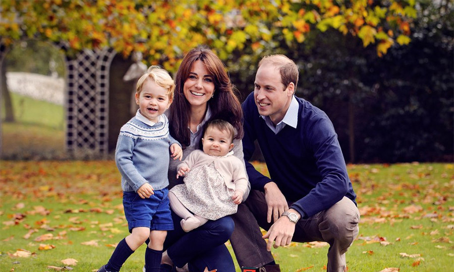 As far as the British royals, Prince William and Duchess Kate unveiled this adorable shot of their family. Cutie Prince George looks ready to make a break for it, while little Princess Charlotte sits smiling in her mother's lap.