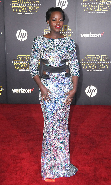 December 14: Lupita Nyong'o looked out of this world wearing an Alexandre Vauthier gown at the world premiere of her new film, 'Star Wars: The Force Awakens,' in Hollywood.