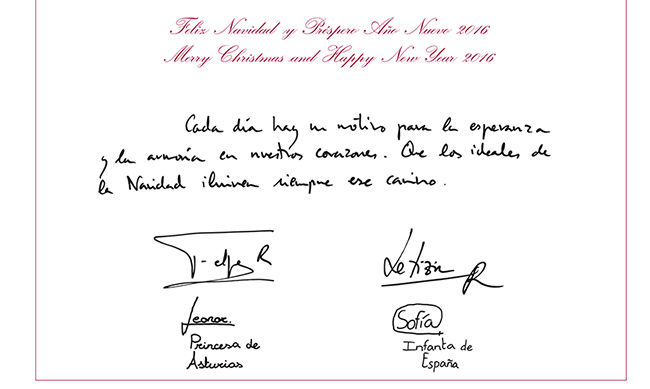 "Inside, the two sisters have proudly signed their names and titles under their parents' signatures. The message of the card reads: ""Every day we have reason to find hope and peace in our hearts. We hope that the goodwill of Christmas will always light our way.""