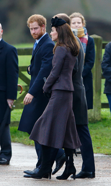 Kate also stepped out on Sunday, looking stylish in a tweed Michael Kors suit alongside her husband Prince William and brother-in-law Prince Harry.
