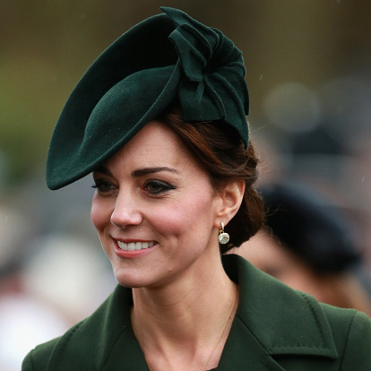 The Duchess of Cambridge looked chic and festive on Christmas Day, wearing a long belted green coat by Sportmax as she made her way to church.