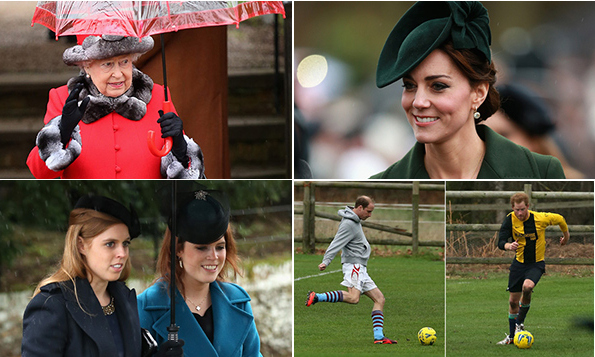 If you think you had a busy holiday weekend, check out what the British royals were up to! Royal matriarch Queen Elizabeth hosted her family at her Sandringham country estate, giving us a chance to spot royals including Kate Middleton and Prince William, Princesses Beatrice and Eugenie and Sophie, Countess of Wessex. 