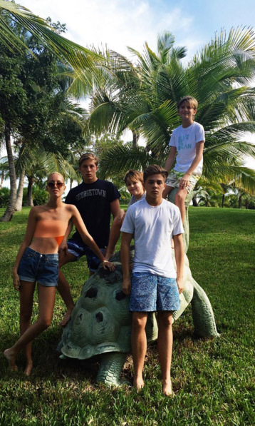 December 2015: Princess Olympia of Greece and her siblings, Prince Constantine-Alexios, Prince Achileas Andreas, Prince Odysseas-Kimon and Prince Aristidis-Stavros posed for a photo during a recent holiday getaway. 