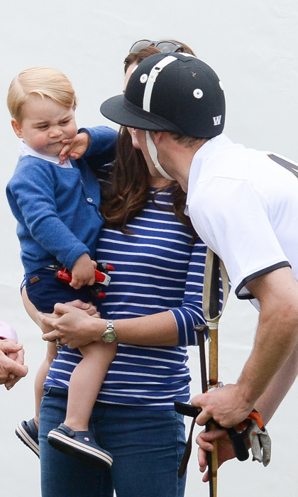 Prince William checked in with his nearly 2-year-old boy during a charity polo match in June, 2015.