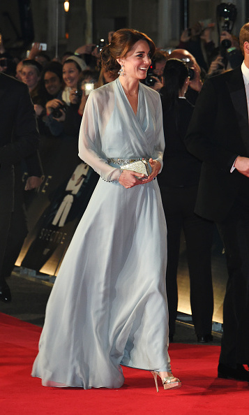 The next bond girl? Kate exuded glamour in a sheer Jenny Packham gown for the London premiere of 'Spectre.'