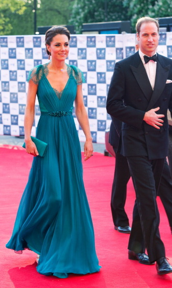 Kate wore a sweeping teal Jenny Packham gown with a plunging neckline for the Team GB and Paralympics GB launch party ahead of the 2012 London Olympics.