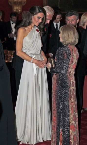 The Duchess looked like a Greek goddess wearing a silver asymmetric Jenny Packham gown for the National Memorial Arboretum Appeal reception.