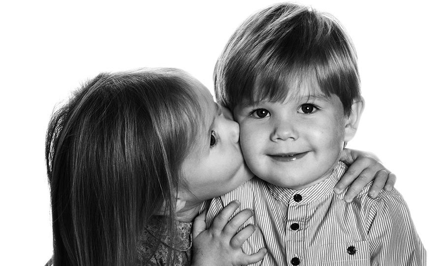 Happy third birthday! Princess Josephine gave her twin brother a sweet kiss on the cheek during their birthday portraits. 