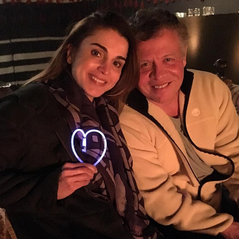 Queen Rania of Jordan saw in the New Year with her husband King Abdullah, captioning her photo, 'Celebrating the New Year in the best way possible: with family and lots of love. Wishing you all the happiest New Year, may it bring everything you have hoped for.'