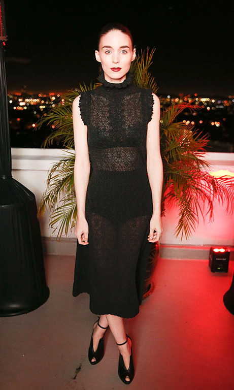 January 7: A touch of black! Rooney Mara toasted to awards season at the W Magazine and Dom Pérignon's celebration of the 73rd annual Golden Globes event at Chateau Marmont in West Hollywood. 