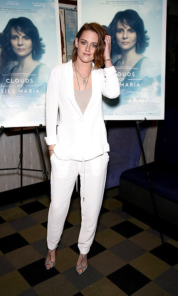 January 3: White out! Kristen Stewart attended a screening of 'Clouds Of Sils Maria' at IFC Center in New York City. 