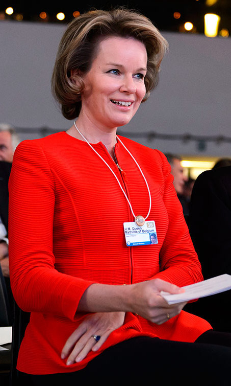 Queen Mathilde of Belgium was a lady in red at the opening ceremony of the World Economic Forum in Davos, Switzerland, where heads of states and business focused on 'Mastering The Fourth Industrial Revolution.'