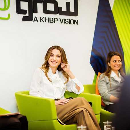 Helping female entrepreneurs was top of Queen Rania of Jordan's list. She shared this pic on Instagram, captioning it: 'Listening to young Jordanian entrepreneurs share their success stories about how they made it in the startup world. #Women #Success #Proud #Jordan #LoveJO.'