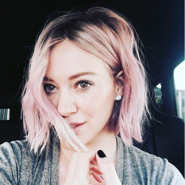 "<a href=""http://us.hellomagazine.com/tags/1/hilary-duff/""><strong>Hilary Duff</strong></a> tried a range of pink shades to create this pretty highlighted rosé look. 