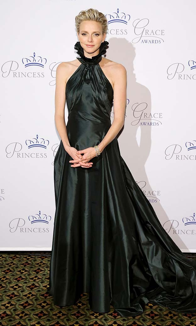 October 2013: Charlene wore a rich dark-green taffeta gown by Ralph Lauren at the Princess Grace awards. 