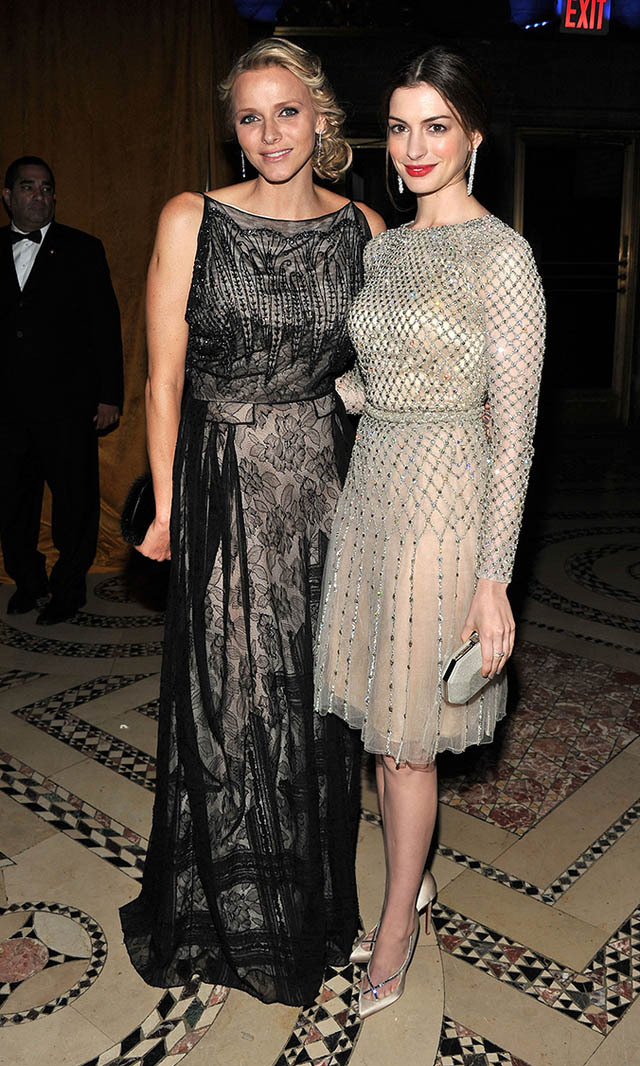 November 2011: Princess of Monaco, meet the Princess of Genovia (a.k.a. 'The Princess Diaries' star Anne Hathaway)! Charlene and Anne each looked stunning with the real-life Princess sporting lace and the actress wearing a glitzy cocktail dress.
