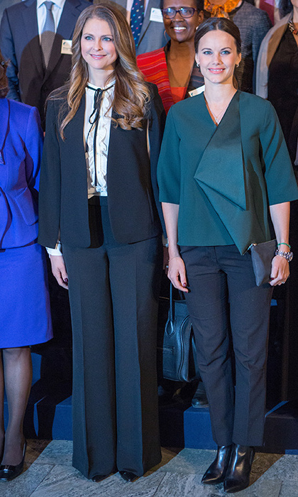 Beside her sister-in-law Madeleine, Sofia kept any signs of pregnancy under wraps at the Global Child Forum in Stockholm.