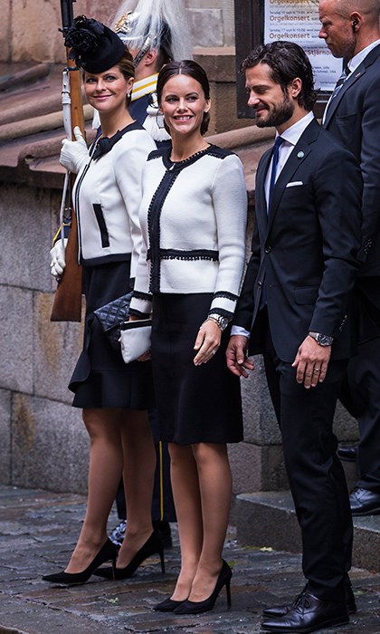 Keeping in step with her sister-in-laws early in her pregnancy, Sofia opted for a monchrome outfit to attend the opening of Swedish parliament.