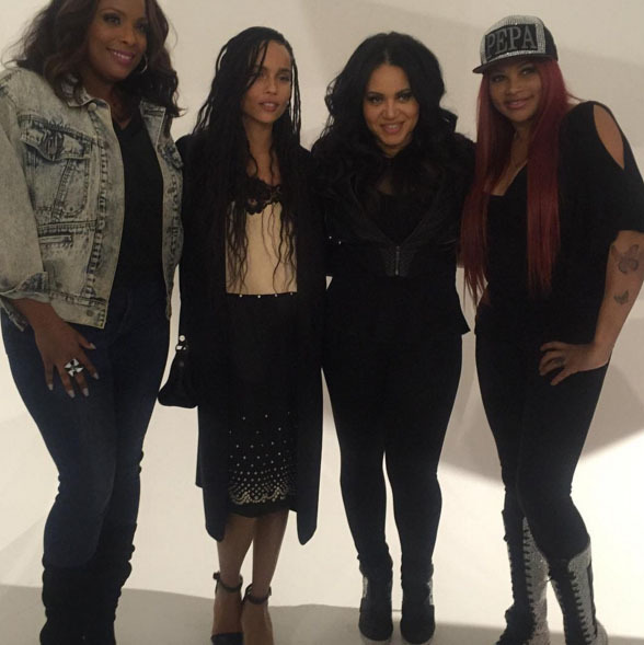 January 27: Reunited and it feels so good! Zoe Kravitz shared a pic with hip hop divas Salt 'n Pepa during a Milk makeup event in NYC.