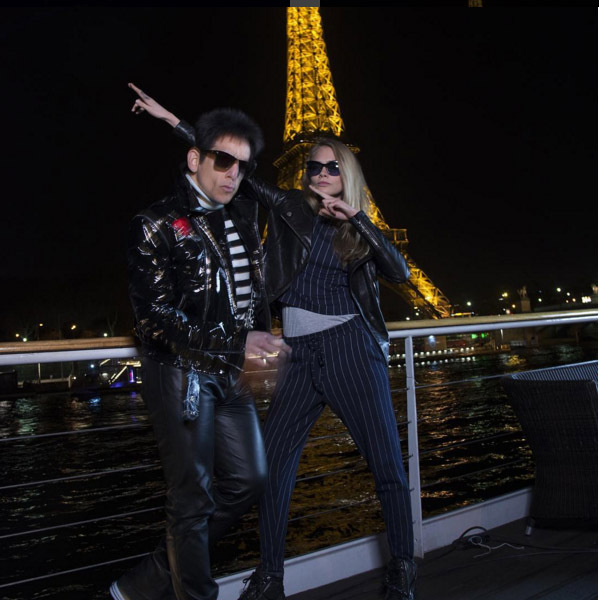 January 30: Model behavior! Derek Zoolander aka Ben Stiller and supermodel Cara Delevingne had the ultimate model walk-off during their Paris takeover. 