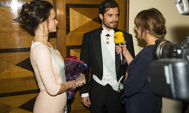 There was just a hint of her blossoming figure as she attended a formal event in Stockholm with Prince Carl Philip in October 2015.