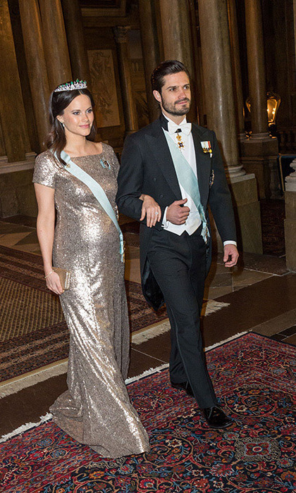 Pregnant Princess Sofia of Sweden wore molten metallics for a gala alongside husband Prince Carl Philip. 