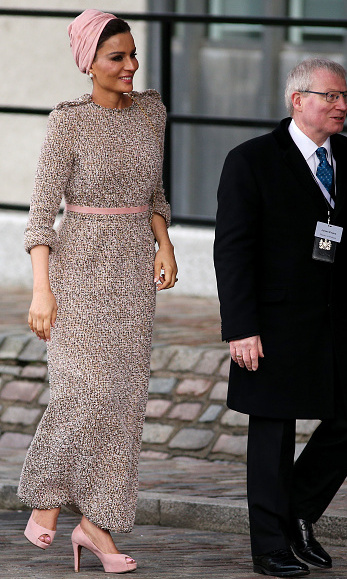 Qatar's always-elegant First Lady Sheikha Mozah bint Nasser al-Missned chose rose Chanel for a conference in London.