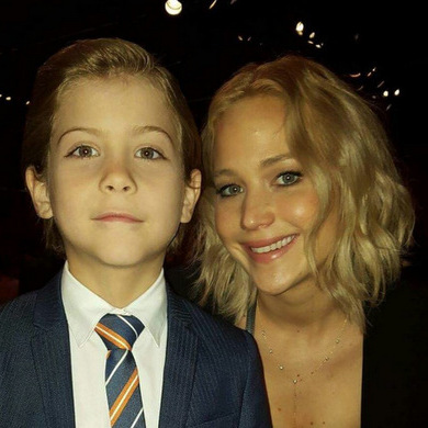 When J-Trem met J-Law. The tot-sized actor became acquainted with the 'Hunger Games' actress at the 2016 Oscars nominees lunch.