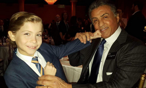 "Beware of Jacob's adorableness and punches. The Critics' Choice winner hung out with ""champ"" Sylvester Stallone at the 2016 Oscars nominees lunch.