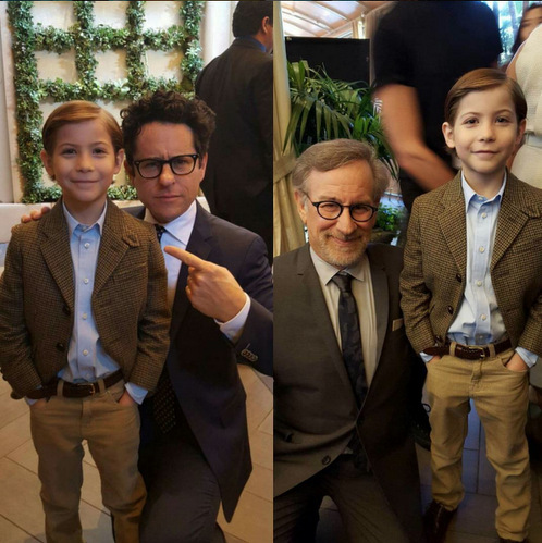 "Mind blown! The 9-year-old actor came face-to-face with renowned directors J.J. Abrams and Steven Spielberg. Captioning his encounter, Jacob wrote, ""The mind of me right now is so blown.""