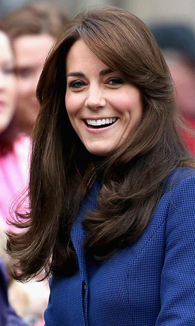 Kate opted for a natural finish here, which suits her timeless appearance. Be sure to brush through your hair and spray a bit of hairspray to get the look.