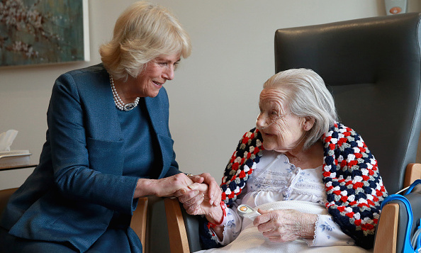 Camilla, Duchess of Cornwall met 97-year-old Helen during a visit to Royal Trinity Hospice  in London, England. 