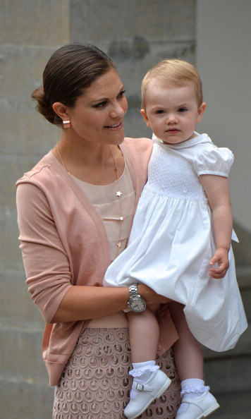 July 2013: Princess Estelle posed for a quick picture with her mom during the Victoria Day celebrations at Solliden Castle.