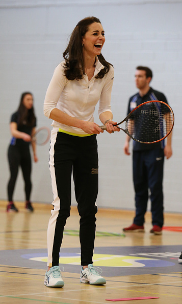 For tennis training in Edinburgh, the Duchess of Cambridge wore a Nike top, Asics sneakers and Monreal London track pants.